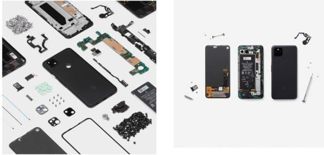 O Google Pixel Quadros mostra em impressão de alta qualidade o interior de um Pixel 5, 4a 5G ou Pixel 4a com riqueza de detalhes de como é por dentro cada um dos três novos telefones Google Pixel
