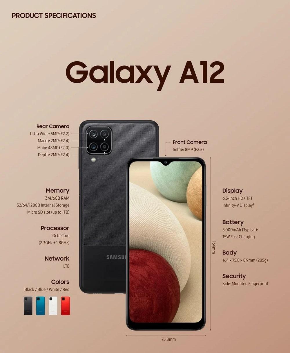 Especificações Galaxy A12 - Divulgação Samsung
