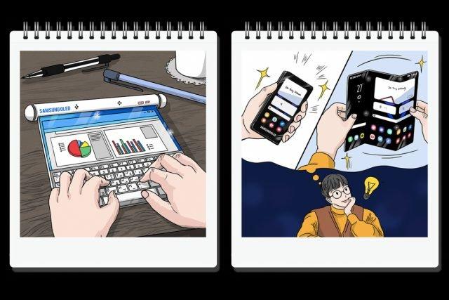 Conceitos de tela enrolável e tela dobrável mostrados no site da Samsung. Imagem: Montagem Vida Celular sobre imagens de divulgação da Samsung