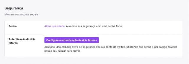 Captura de tela do dashboard para o Twitch