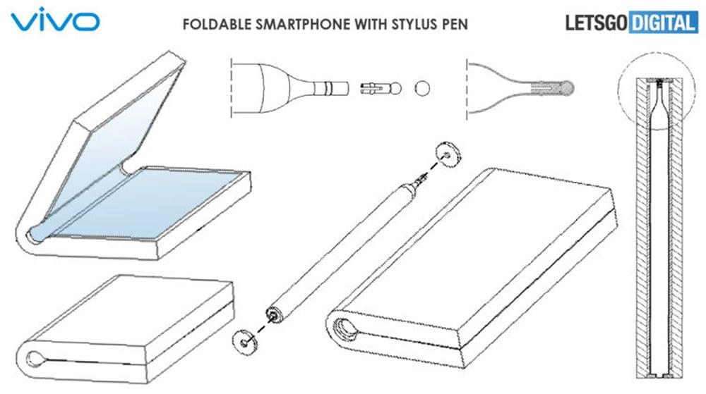 Modelo de nova patente de smartphone dobrável da Vivo com caneta Stylus