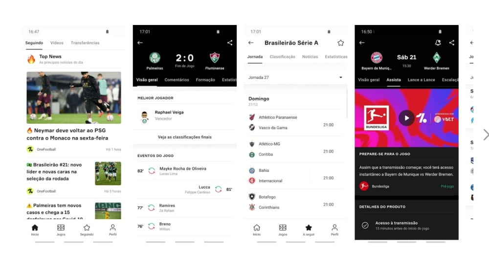 OneFootball é um dos melhores apps para acompanhar esportes no celular