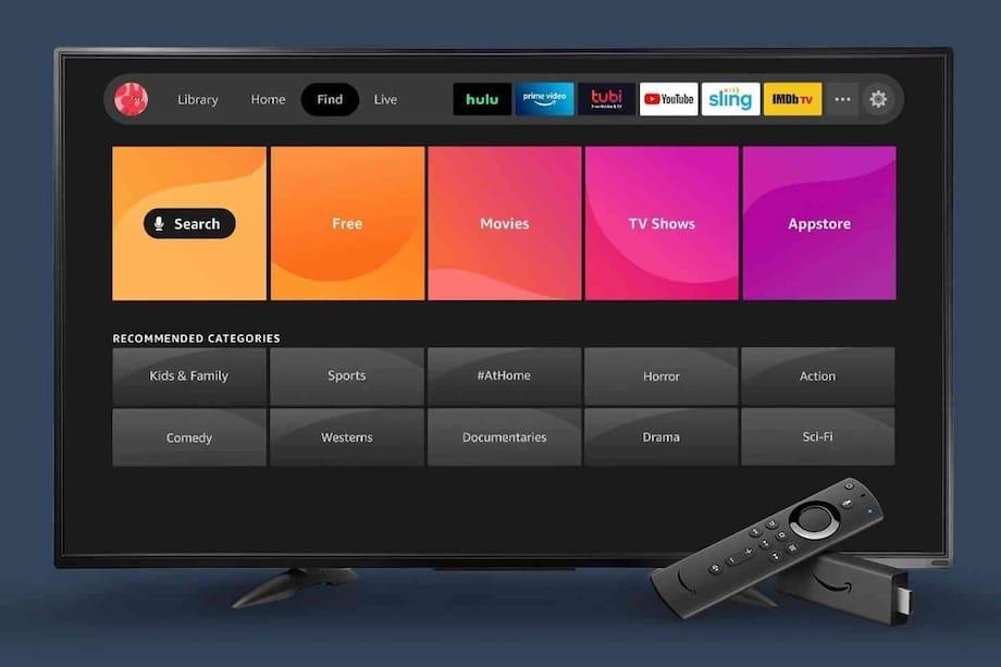 Nova interface do Fire TV na tela de uma televisão