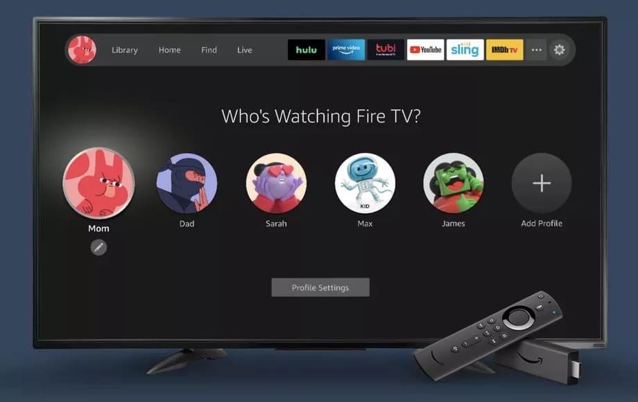 Novos perfis de usuário do Fire TV na tela de uma televisão