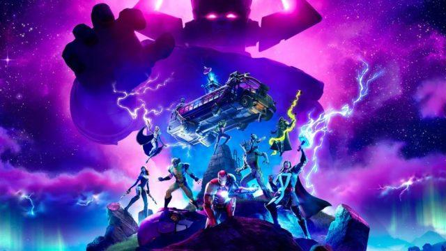 Imagem do game Fornite mostara os personagens do universo Marvel, ao fundo é possível enxergar a silhueta do vilão Galactus envolto em uma névoa roxa