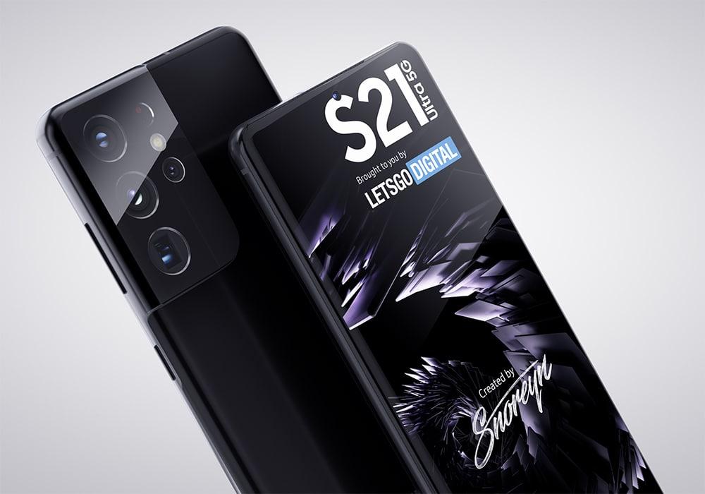 Galaxy S21 Ultra em imagem renderizada