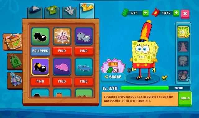 Tela de menus de personalização de personagens mostra um Bob Esponja trajando uma roupa de integrante de fanfarra, ao seu lado é possível ver um guarda-roupa com diversas peças. App está entre os melhores jogos de 2020