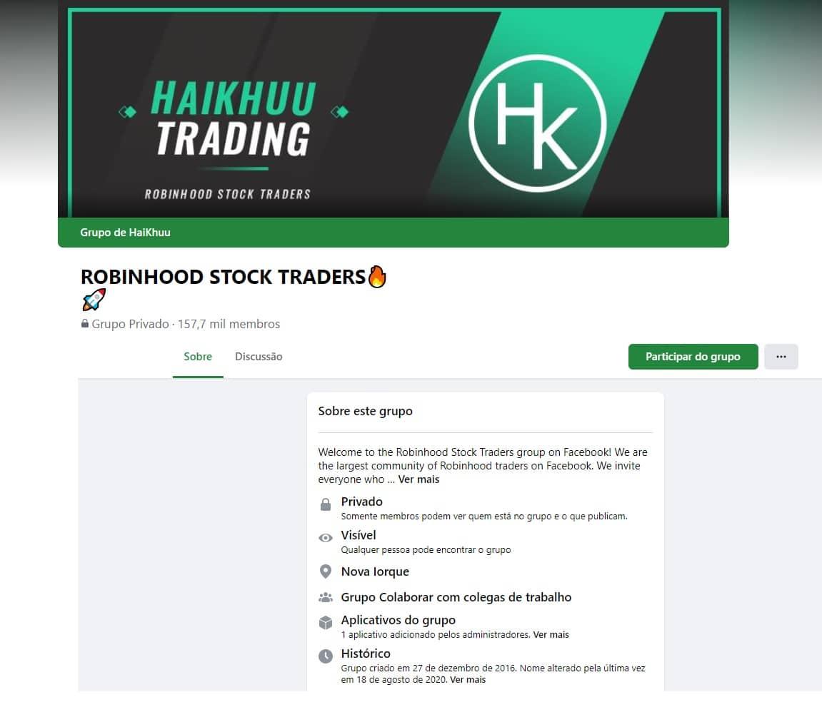 Imagem de print da página do Facebook do Robinhood Stock Traders