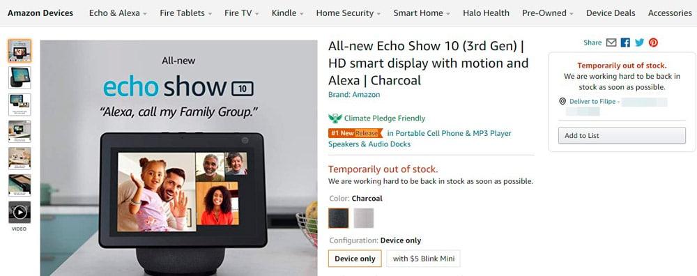 página de venda do amazon echo show 10, mostrando que o item já está fora de estoque