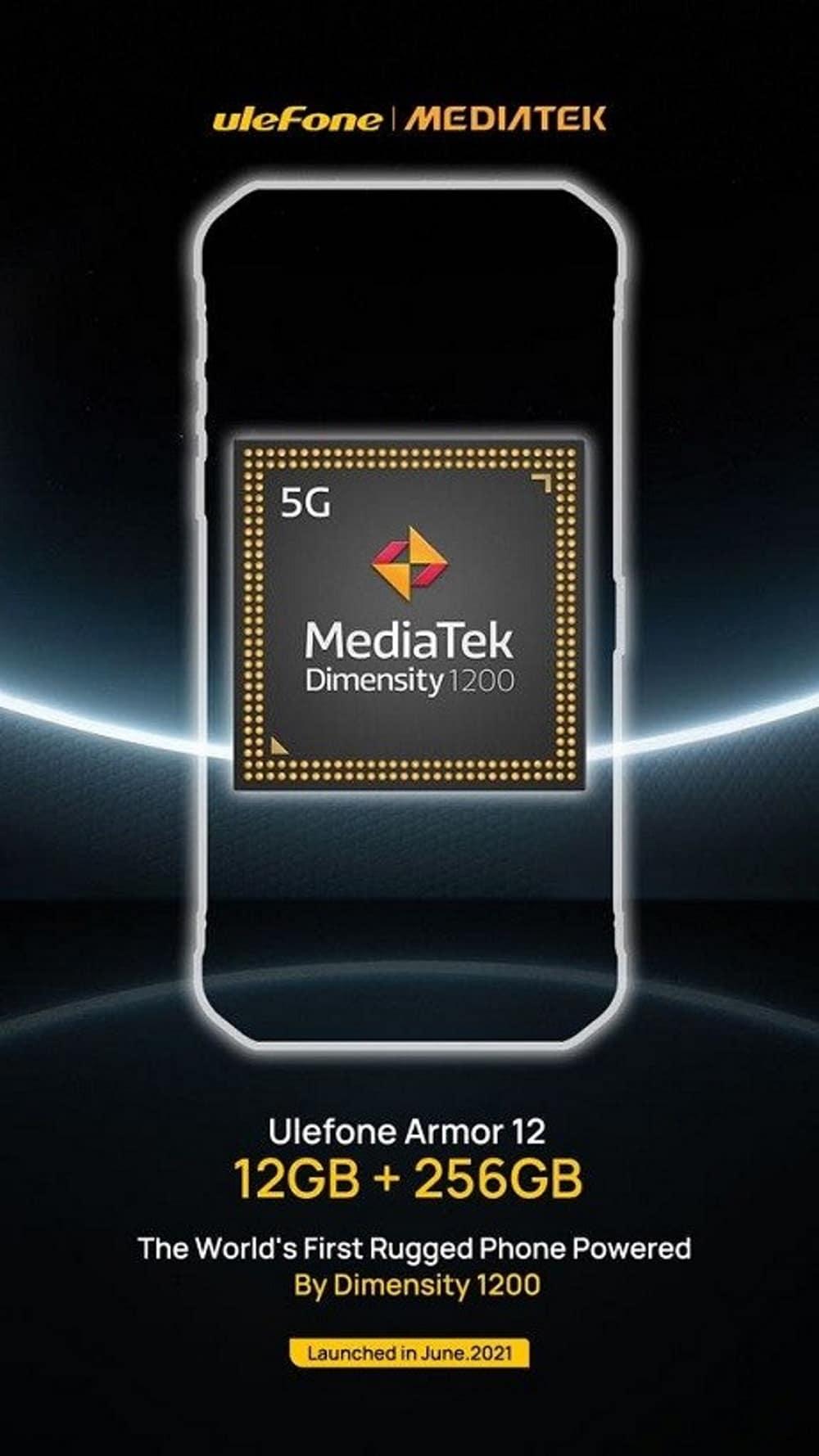 Pôster oficial do Armor 12 confirma smartphone da Ulefone com o processador Dimensity 1200, da MediaTek