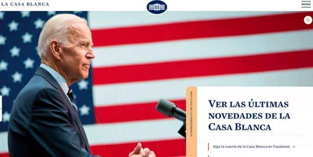 página principal do site da casa branca em espanhol