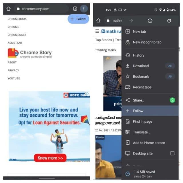 """Montagem mostra nova opção """"Seguir"""", similar ao que fazia o Google Reader, para a versão móvel do Chrome"""