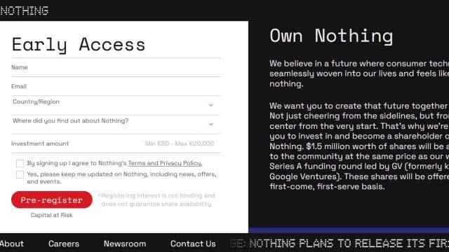 Captura de imagem mostrando a oferta da Nothing para compra de ações, em sua home page