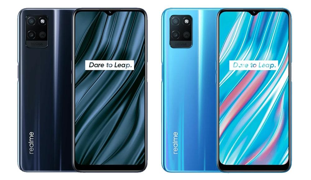 Realme V11 5G nas cores azul e cinza