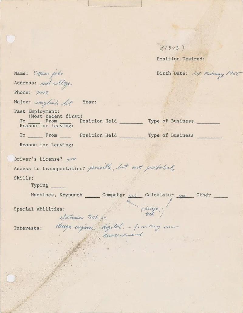 Carta de pedido de emprego de Steve Jobs que vai para leilão