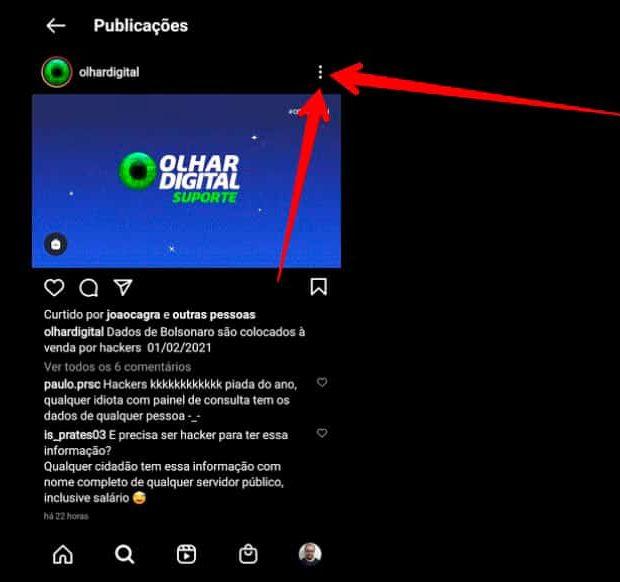 tela do instagram com setas vermelhas apontando para ícone no canto superior direito da tela