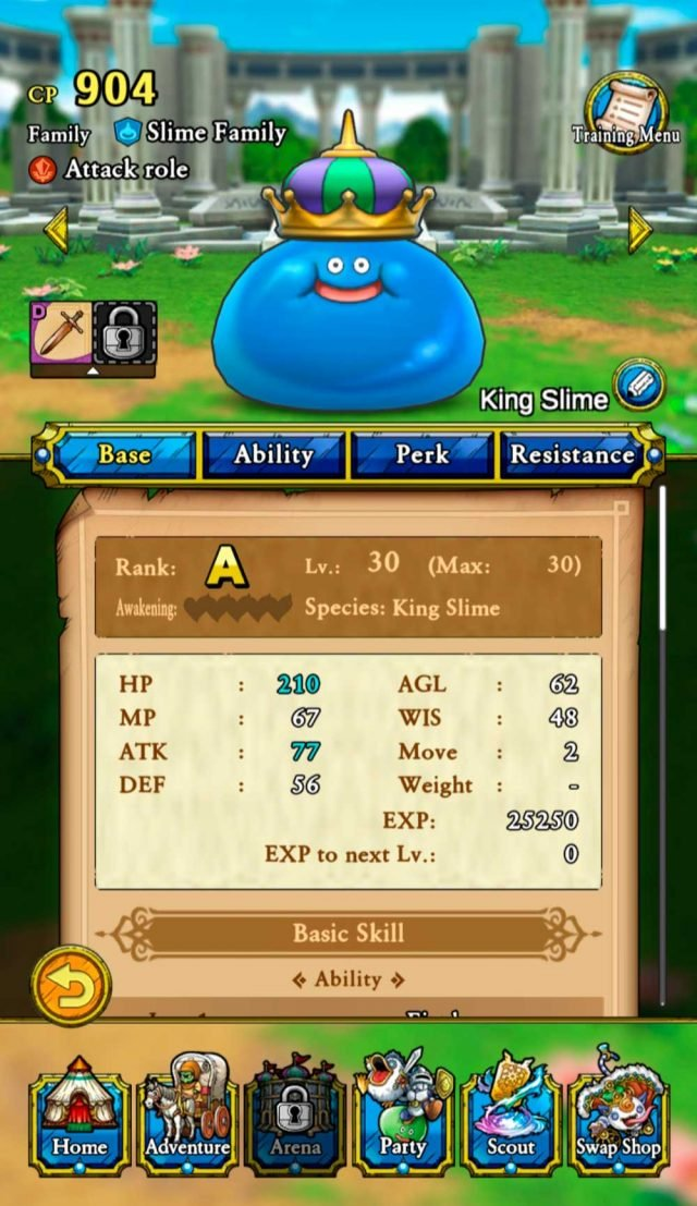 tela de monstro em dragon quest tact