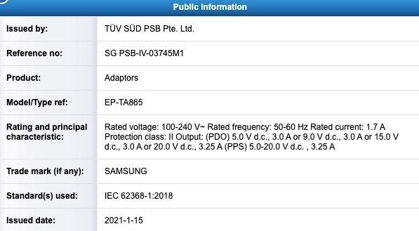 especificações do carregador da Samsung