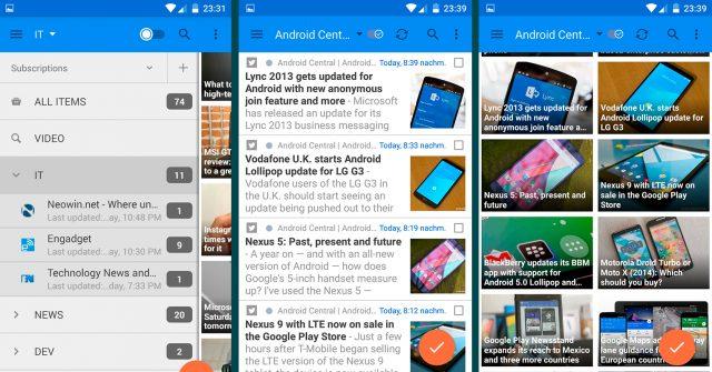 Google Reader era o agregador RSS favorito da internet até se descontinuado em 2013. Atualização traz o recurso para os novos Androids. Divulgação: Google