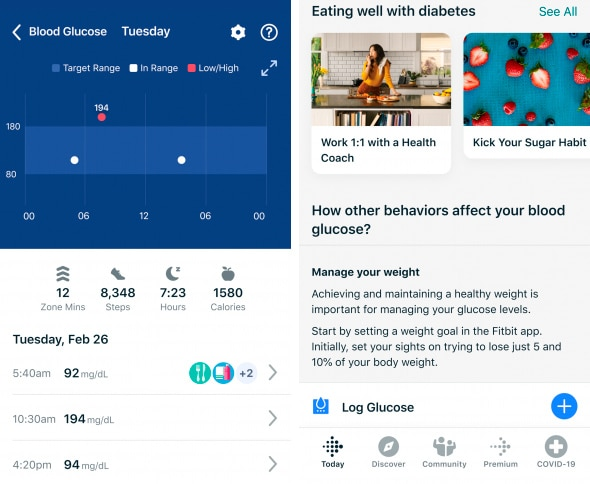 Tela do app Fitbit
