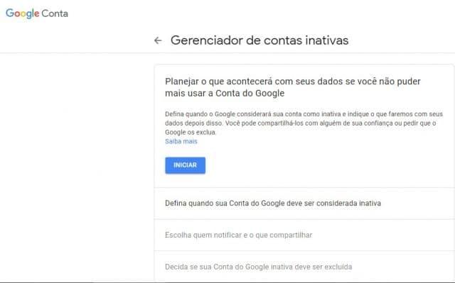 print de gerenciador de contas do Google