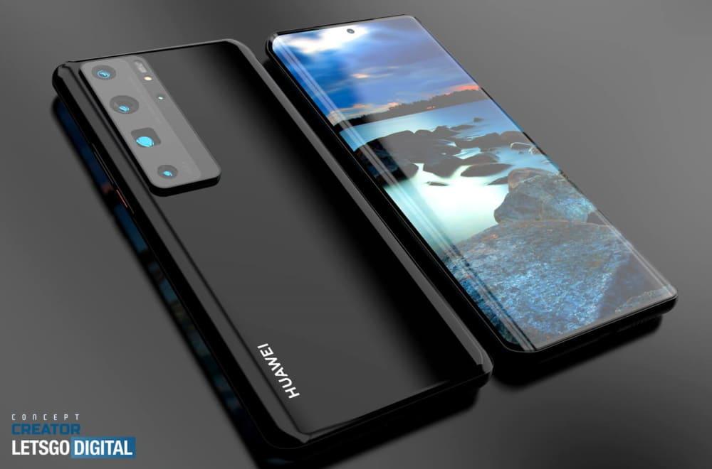 Imagem mostra renderização do Huawei P50, que terá versão com tela curvada e outra com tela em cascata
