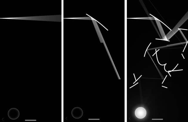 sequência de três telas que demonstram o funcionamento das luzes de Lyxo
