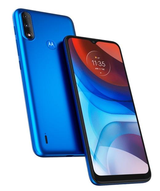 Moto E7 Power, como o azul da imagem, está à venda no site oficial da Motorola no Brasil por meios de R$ 1 mil