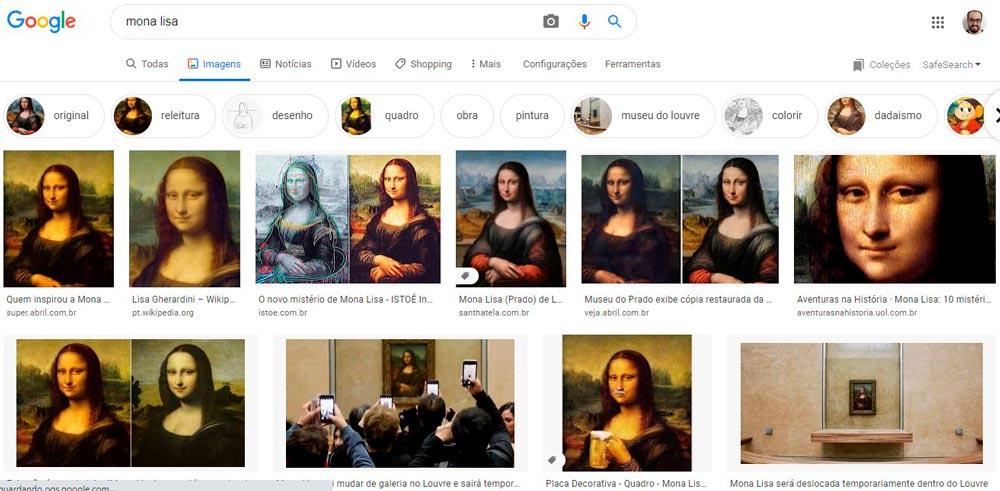 tela de resultados da busca por mona lisa no google