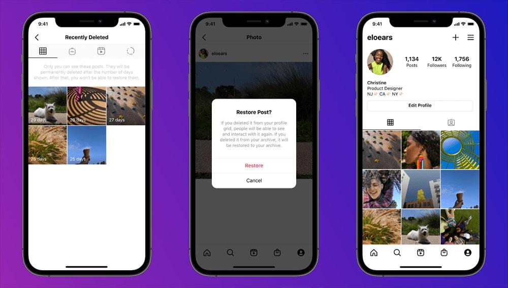 """Nova função do Instagram cria a pasta """"Recentemente Apagados"""", que permite a recuperação rápida de conteúdo excluído por acidente"""