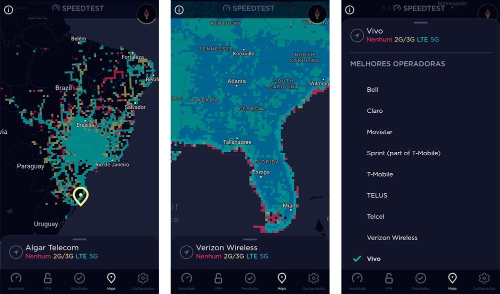 sequência de telas do aplicativo que mostram a cobertura de redes no Brasil e nos Estados Unidos