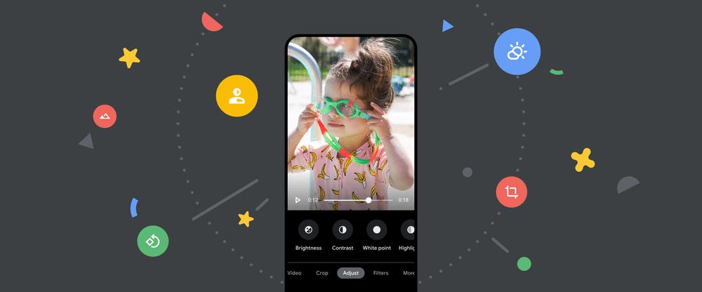 tela mostra programa exibindo recursos de edição editando foto de criança com óculos de natação